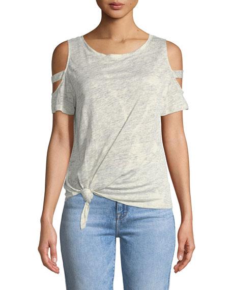 Kendall Crewneck Cold-Shoulder Linen Top