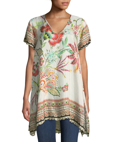 Johnny Was Lillian Floral-Print Silk Tunic, Plus Size