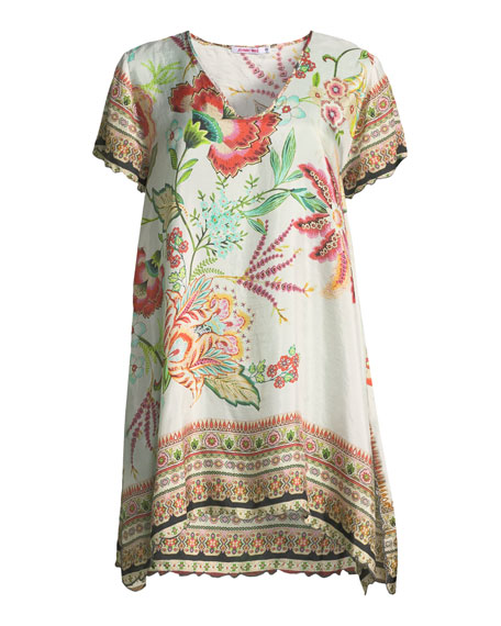 Lillian Floral-Print Silk Tunic, Plus Size
