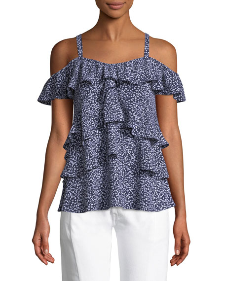 Paisley Fleur Layered Cold-Shoulder Top