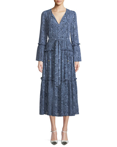 Tiered Boho V-Neck Midi Dress
