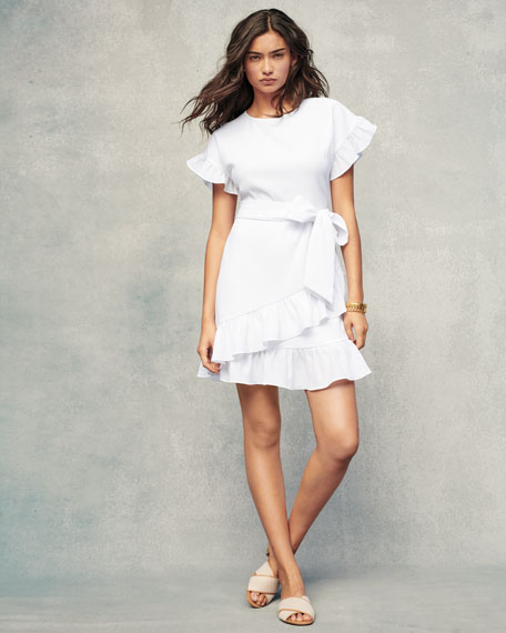 Ruffle-Trim Mini Wrap Dress