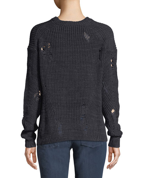 Finn Crewneck Tattered Knit Sweater