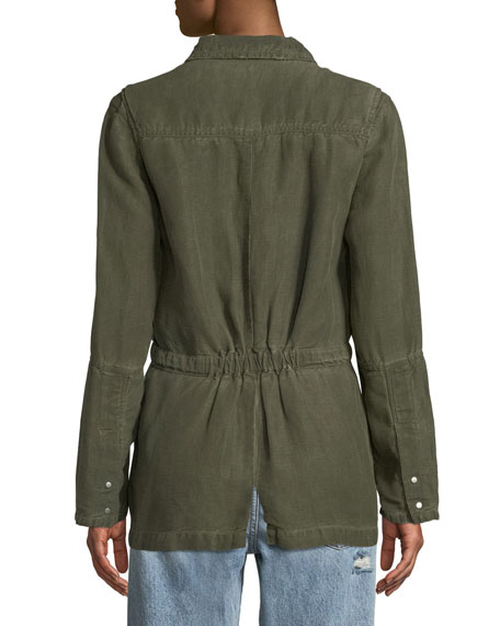 Carell Snap-Front Cinched-Waist Utility Jacket