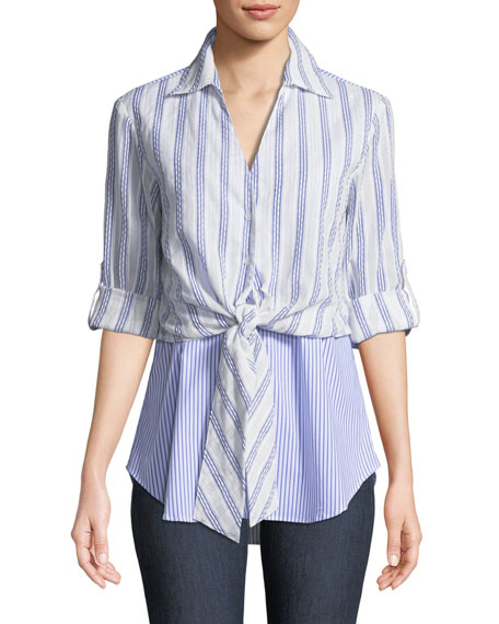 Finley Timmons Layered Tie-Front Twofer Shirt