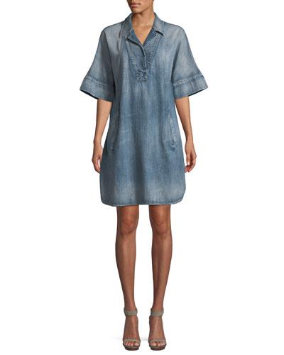 Amanda Elbow-Sleeve Denim Dress