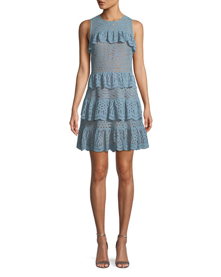 Flounced Lace Sleeveless Dress