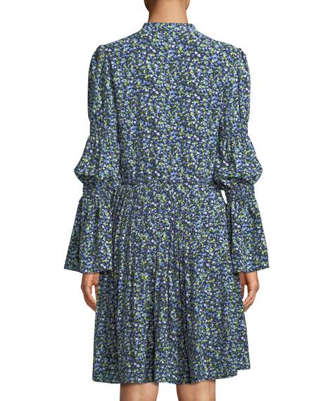 Smocked-Waist Floral-Print Shirt Dress