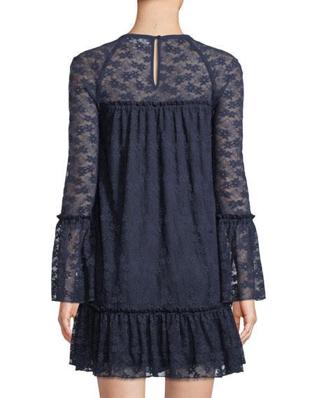 Long-Sleeve Lace Ruffle Dress