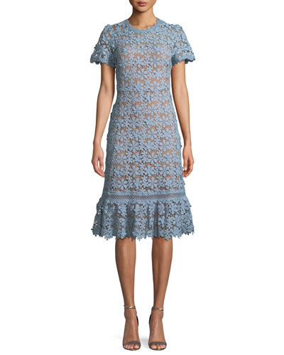 Mixed-Lace Short-Sleeve Dress