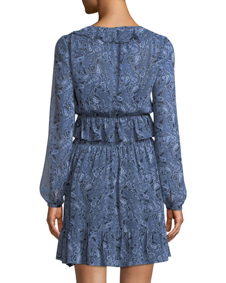 Paisley-Print Smocked-Waist Mini Dress