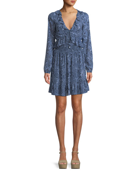 MICHAEL Michael Kors Paisley-Print Smocked-Waist Mini Dress