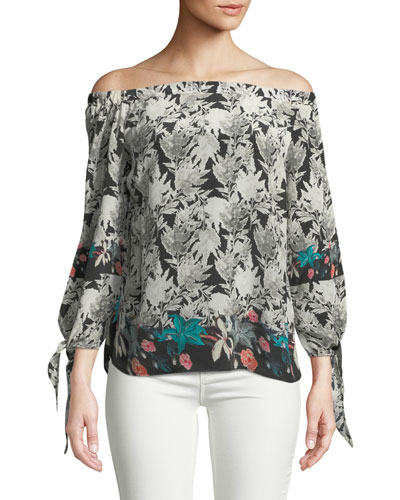 Nyala Off-the-Shoulder Silk Top, Plus Size