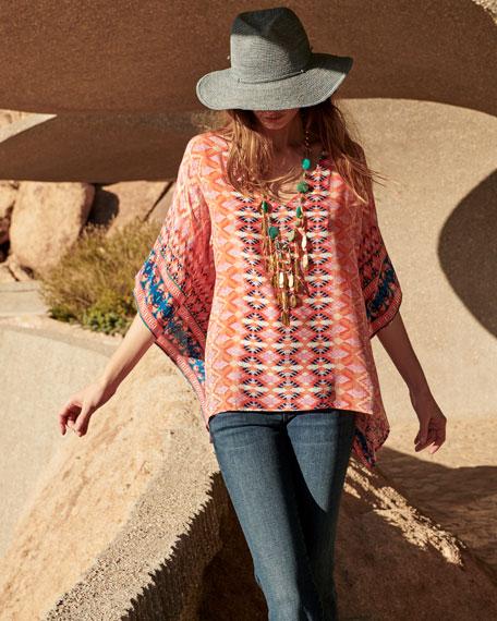 Briyana Graphic-Print Silk Tunic Top, Plus Size