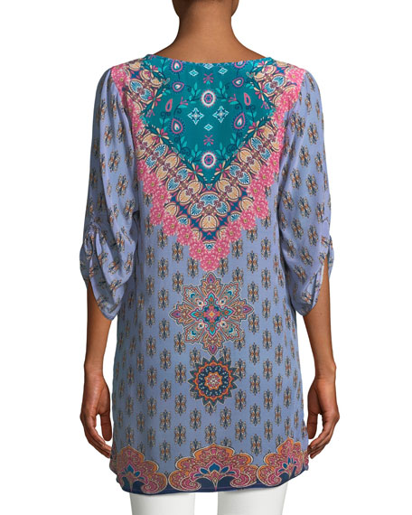 Veera Graphic-Print Silk Tunic