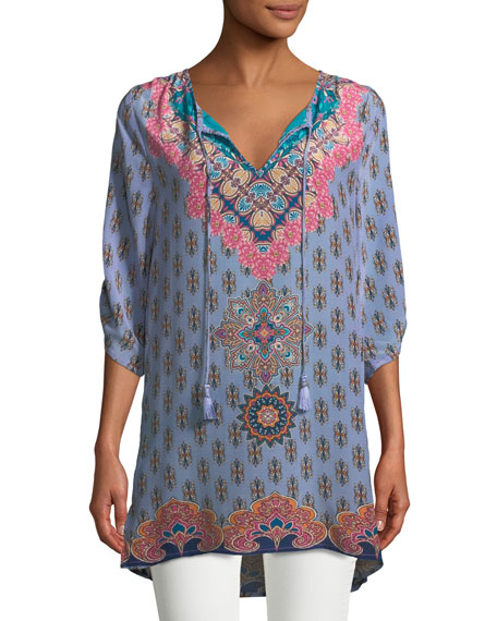 Tolani Veera Graphic-Print Silk Tunic