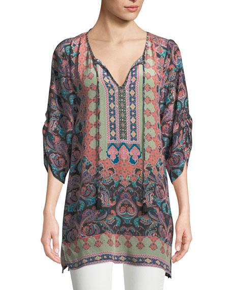 Tolani Ariana Paisley-Print Silk Tunic, Plus Size