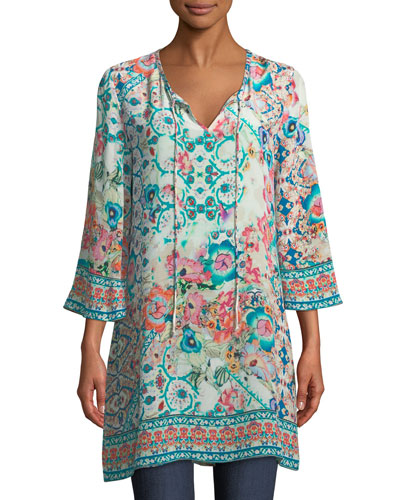 Astrid Floral-Print Silk Tunic, Plus Size