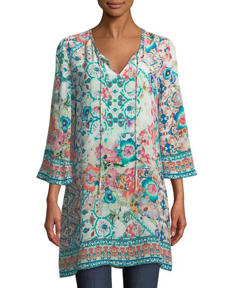Tolani Astrid Floral-Print Silk Tunic, Plus Size
