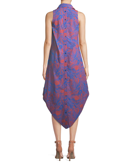 Sleeveless Long Hot Tropics Print Swing Dress