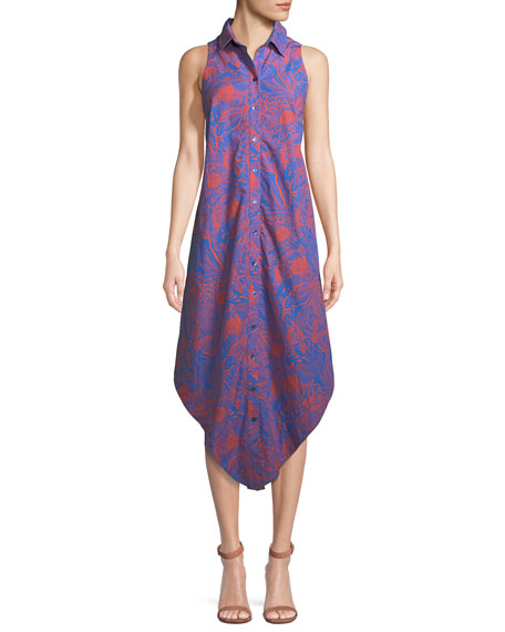 Finley Sleeveless Long Hot Tropics Print Swing Dress