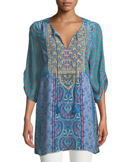 Tolani Elora Mixed-Print Embroidered Tunic