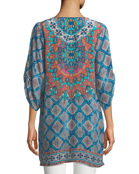 Colby Graphic-Print Silk Tunic, Plus Size