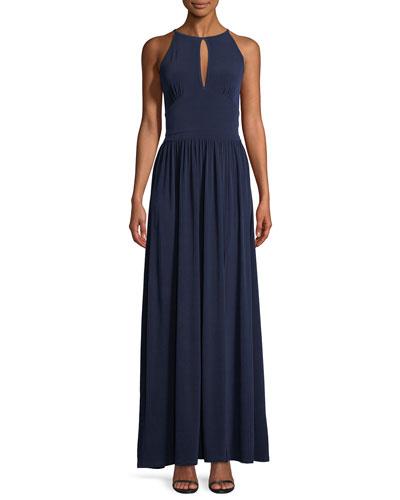 Jersey Halter-Neck Maxi Dress