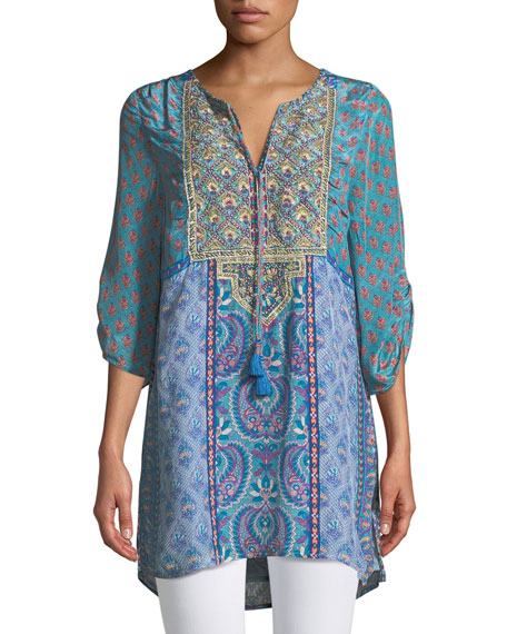 Elora Mixed-Print Embroidered Tunic, Plus Size