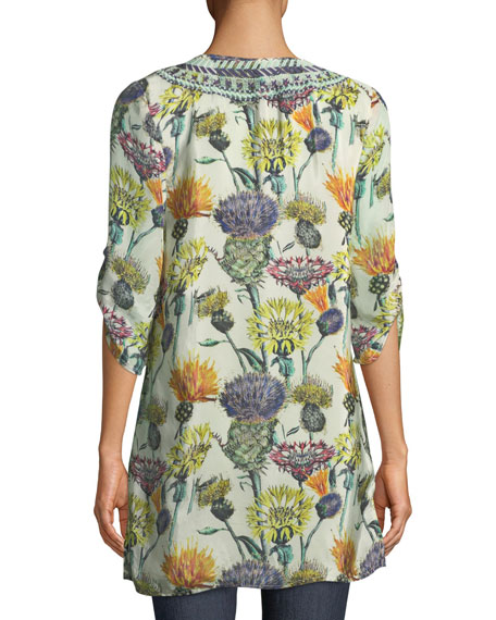 Cecily Floral-Print Tie-Neck Tunic, Plus Size