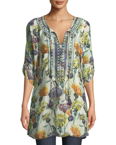Cecily Floral-Print Tie-Neck Tunic