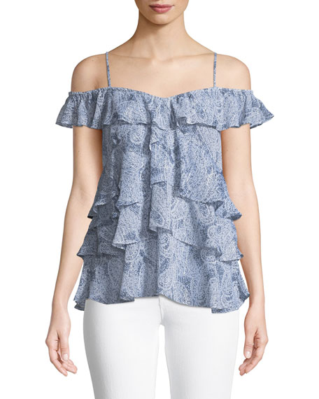 MICHAEL Michael Kors Layered Paisley Off-the-Shoulder Top