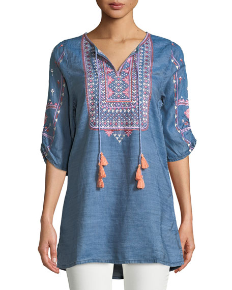 Megha Embroidered Denim Tunic, Plus Size