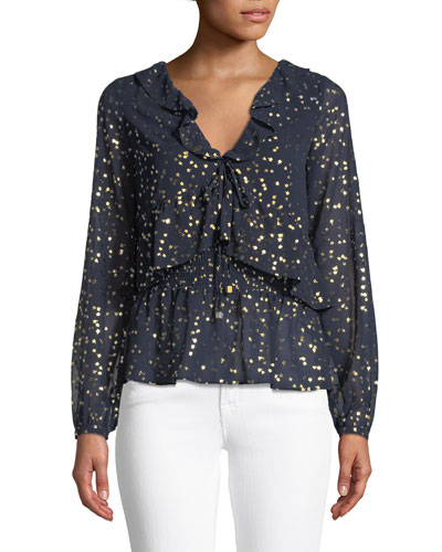 Ditsy Blossom Foil-Pattern Top