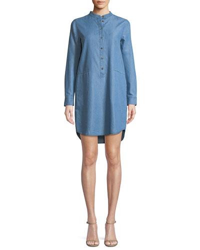 Cadet-Wash Chambray Shirt Dress
