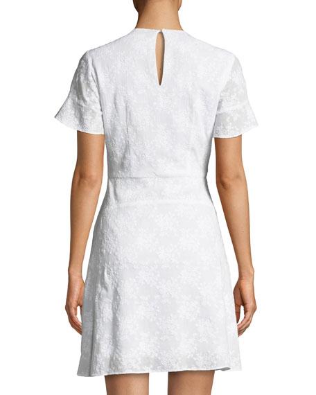 Floral-Appliqué Puff-Sleeve Mini Dress