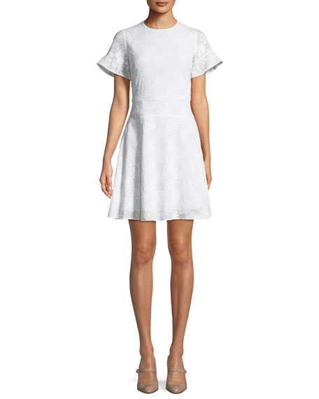 MICHAEL Michael Kors Floral-Applique Puff-Sleeve Mini Dress