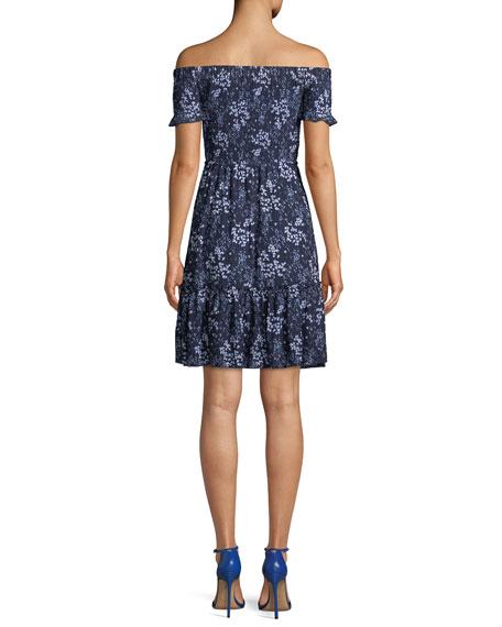 Smocked Off-the-Shoulder Floral-Print Dress