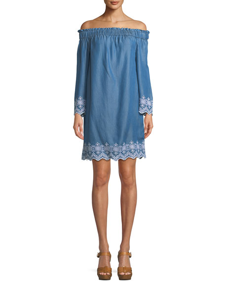 Off-the-Shoulder Eyelet Shift Dress