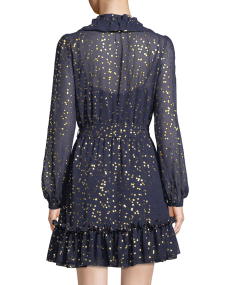 Foil Star Chiffon Mini Dress