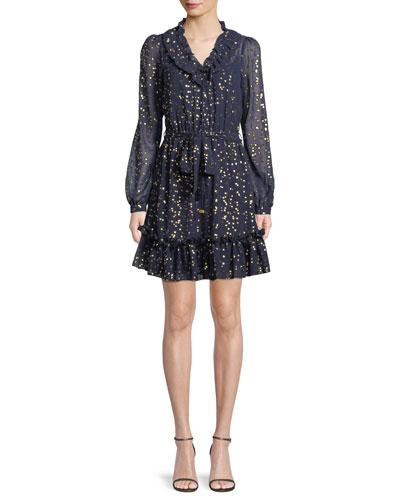 Foil Star Chiffon Mini Dress