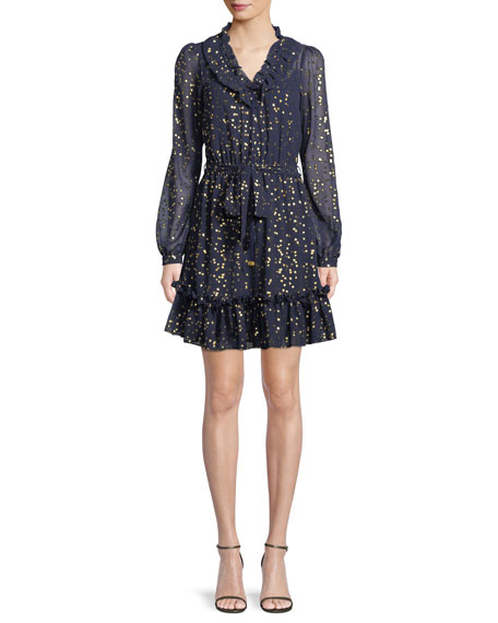 MICHAEL Michael Kors Foil Star Chiffon Mini Dress
