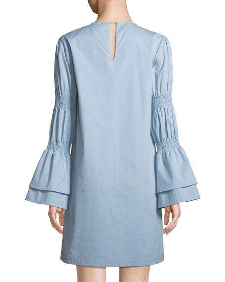 Smock-Sleeve Crewneck Shift Dress