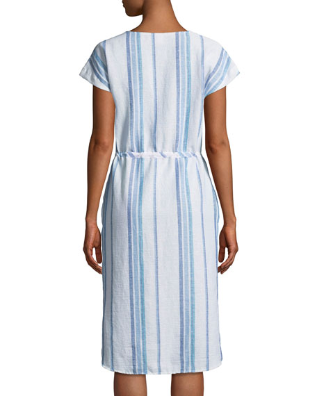 Tapestry Stripe Button-Front V-Neck Dress
