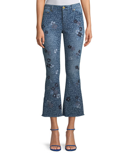 Floral-Print Cropped Bell-Bottom Jeans