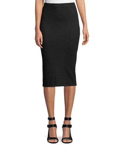 Plaited-Rib Knit Tube Skirt