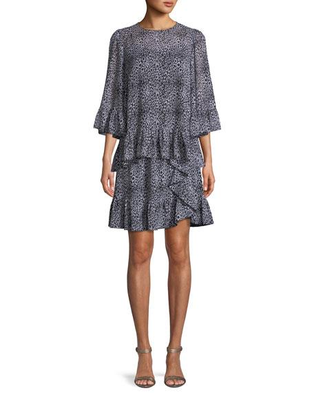 Ruffle-Trim Leopard-Print Skirt