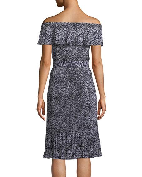 Leopard-Print Chiffon Off-the-Shoulder Dress
