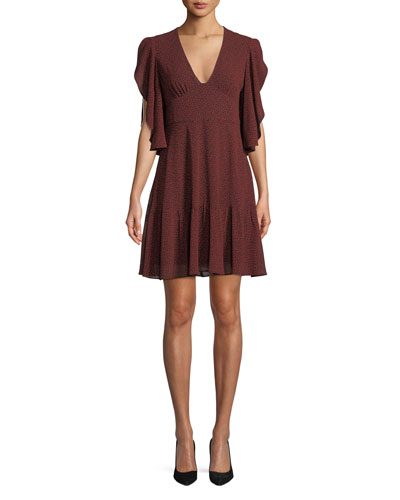 Cascade-Sleeve V-Neck Dress
