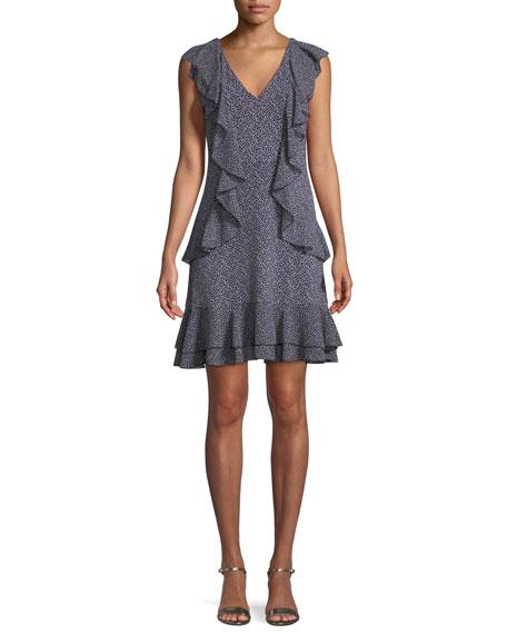 Cascade-Ruffle Shift Mini Dress